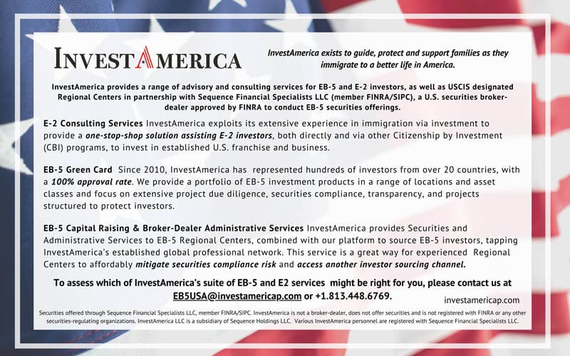 U.S. Investment – EB-5 and E-2 Investor Services