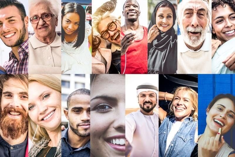 Collage image of ethnically diverse people. E-2 Visa and US Investor Visa